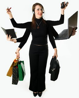 Woman holding 10 things